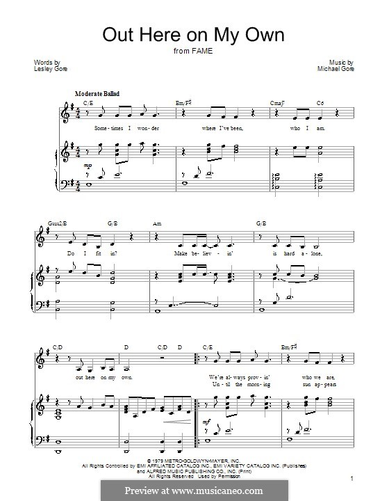 Out Here on My Own (from Fame): Para vocais e piano (ou Guitarra) by Michael Gore