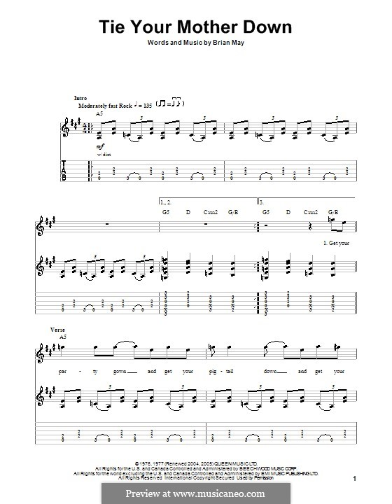 Tie Your Mother Down (Queen): para guitarras com guia by Brian May