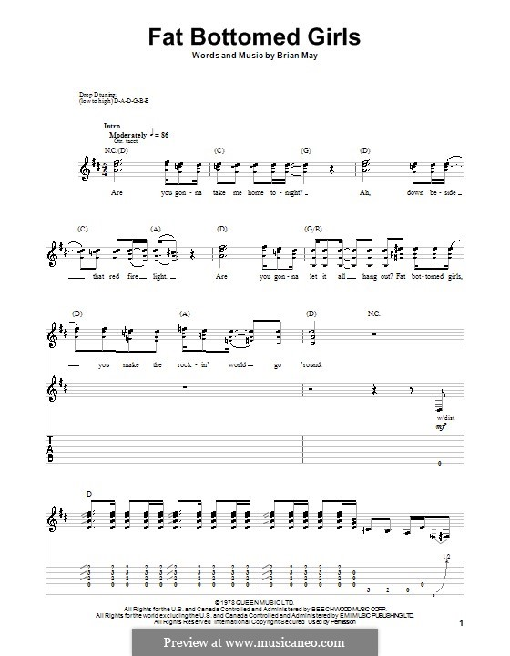 Fat Bottomed Girls: For guitar (Queen) by Brian May