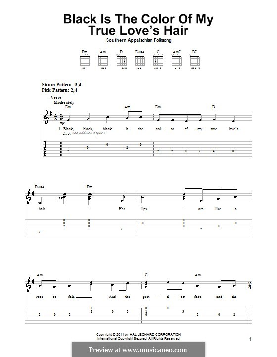 Black is the Color of My True Love's Hair: Para guitarra (versão facil) by folklore