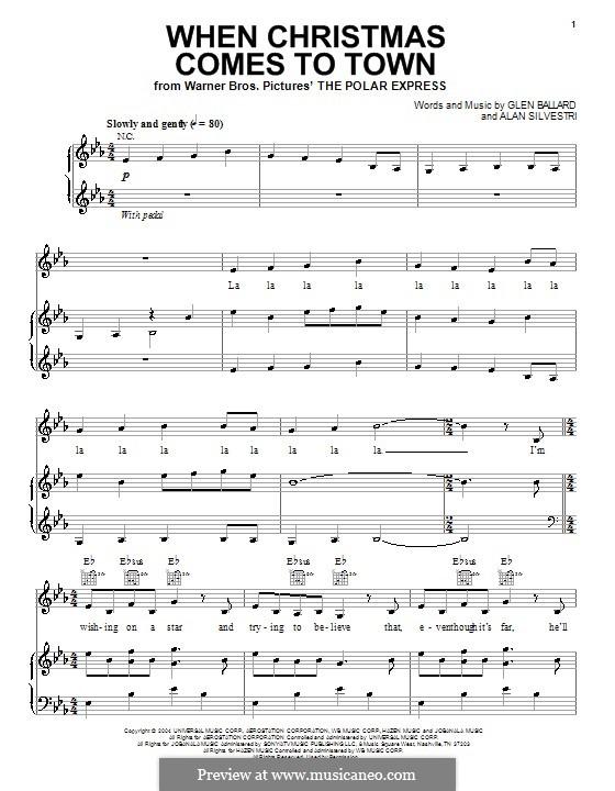 When Christmas Comes to Town: Para vocais e piano (ou Guitarra) by Alan Silvestri