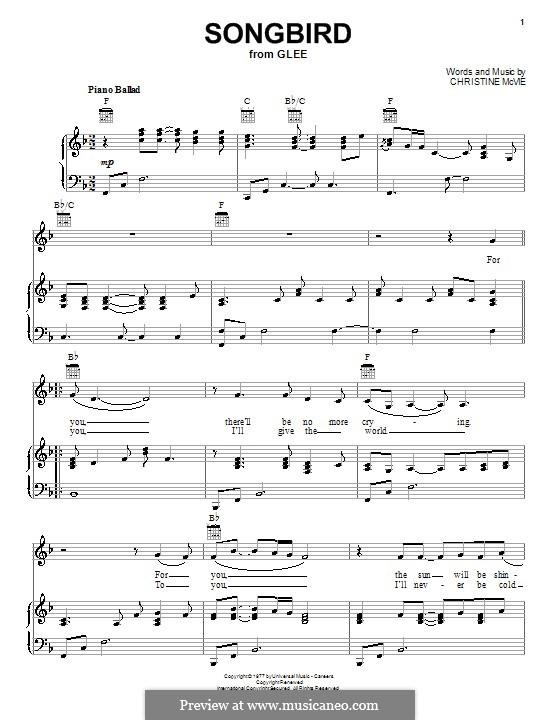 Songbird (Fleetwood Mac): para voz, piano e guitarra (F Major) by Christine McVie