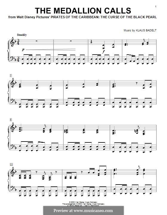 The Medallion Calls: Para Piano by Klaus Badelt