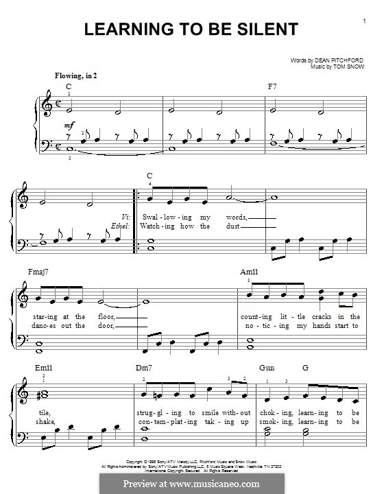 Learning To Be Silent: Facil para o piano by Tom Snow