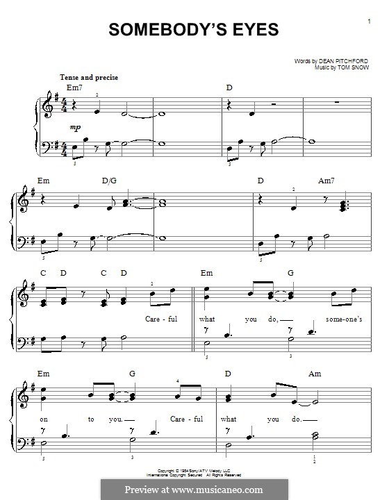 Somebody's Eyes: Facil para o piano by Tom Snow