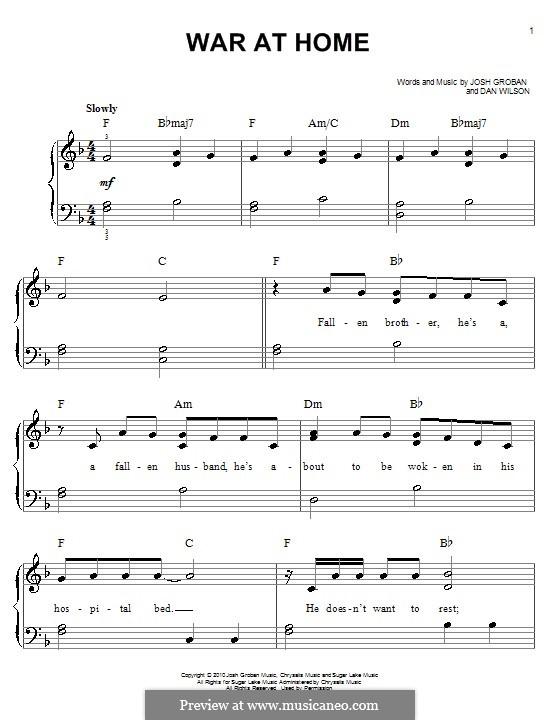 War at Home: Para Piano by Daniel Wilson, Josh Groban