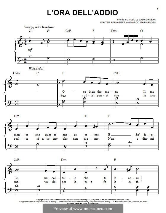 L'Ora Dell'Addio: Para Piano by Josh Groban, Marco Marinangeli, Walter Afanasieff