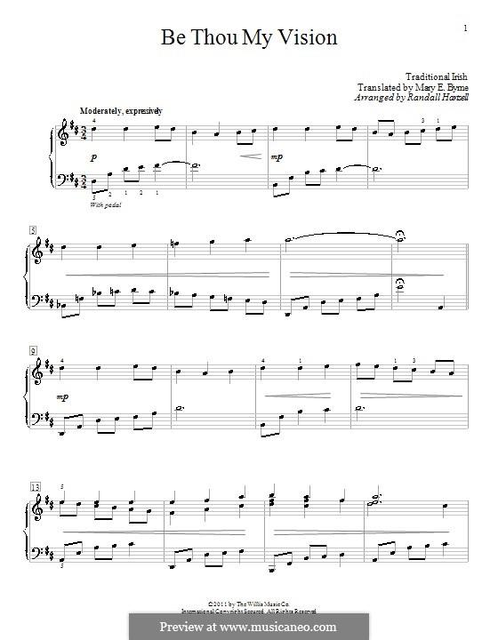 Be Thou My Vision (Printable scores): para piano (com dedilhado) by folklore