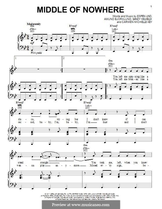 Middle of Nowhere (Selena Gomez): Para vocais e piano (ou Guitarra) by Amund Bjorklund, Carmen Michelle Key, Espen Lind, Sandy Wilhelm