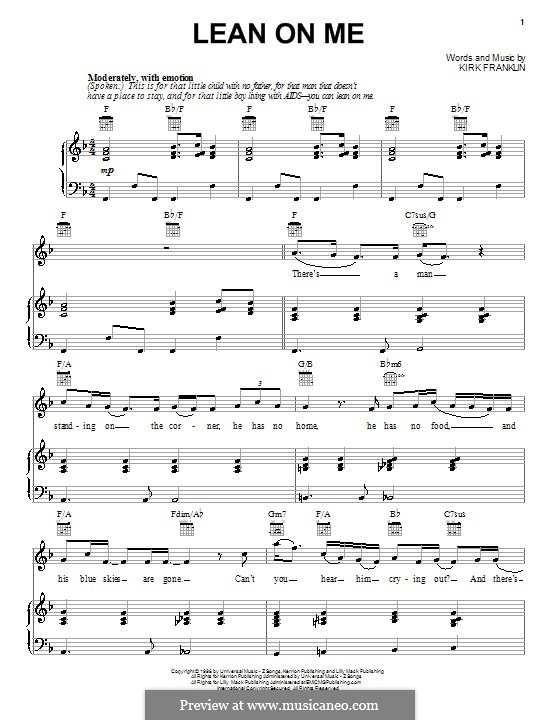 Lean on Me: Para vocais e piano (ou Guitarra) by Kirk Franklin