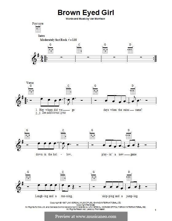 Brown Eyed Girl: para ukulele by Van Morrison