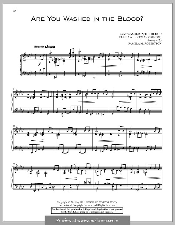 Are You Washed in the Blood?: Para Piano by Elisha Albright Hoffman