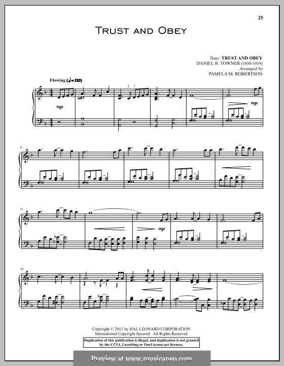 Trust and Obey: Para Piano by D. B. Towner
