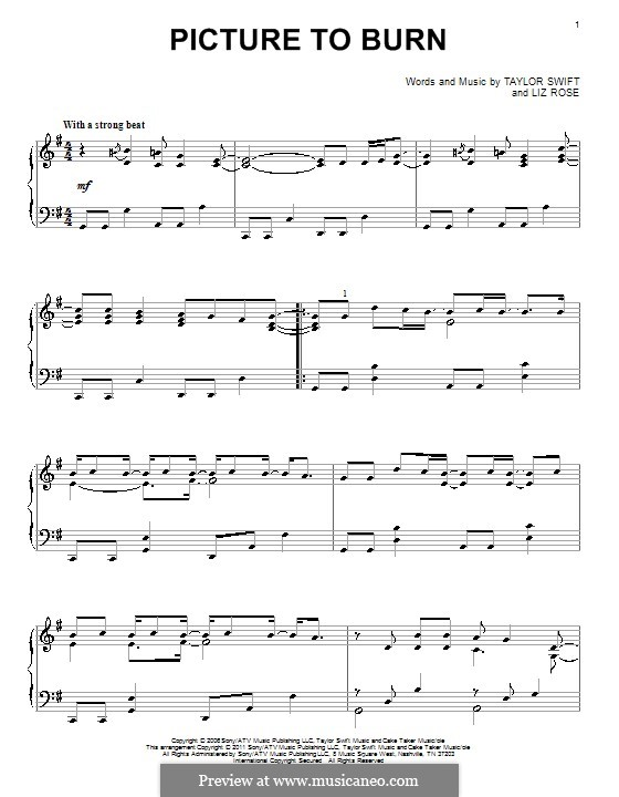 Picture to Burn (Taylor Swift): Para Piano by Liz Rose