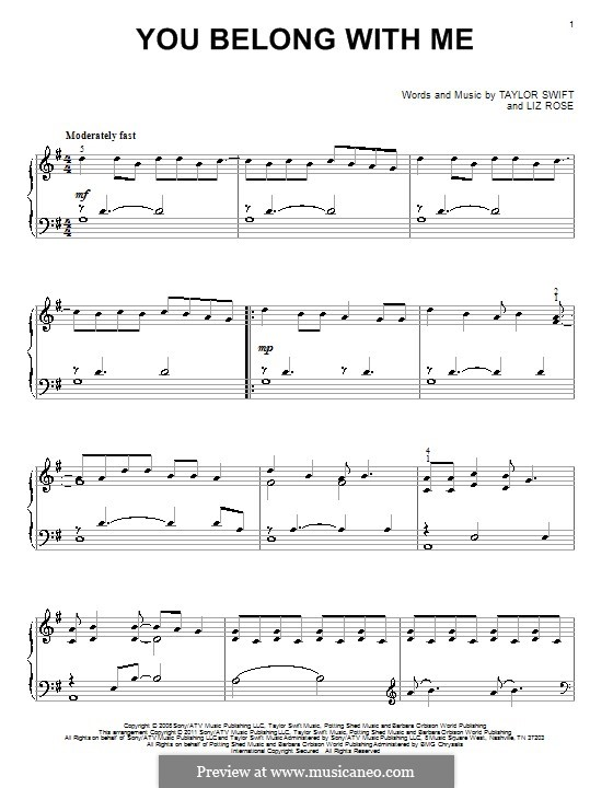 You Belong with Me (Taylor Swift): Para Piano by Liz Rose