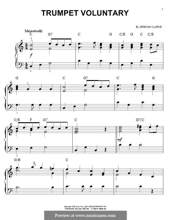 Prince of Denmark's March: Facil para o piano by Jeremiah Clarke