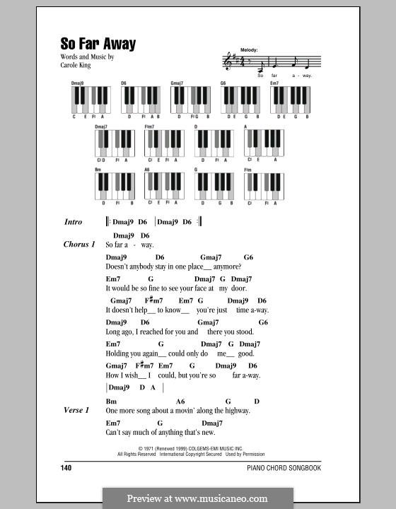 So Far Away: letras e acordes para piano by Carole King