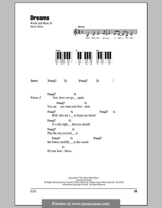 Dreams (Fleetwood Mac): letras e acordes para piano by Stevie Nicks