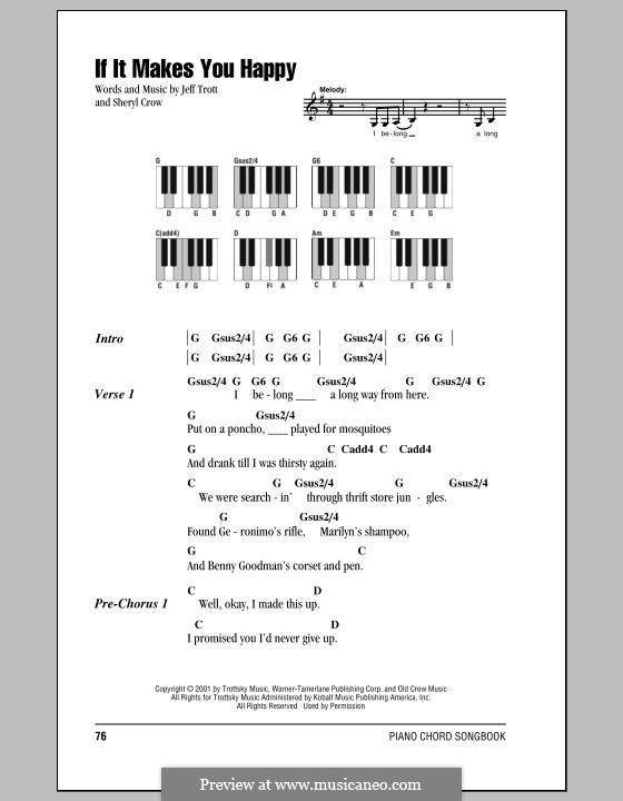 If It Makes You Happy: letras e acordes para piano by Jeffrey Trott, Sheryl Crow
