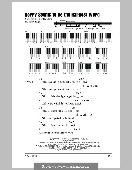 Sorry Seems to be the Hardest Word: letras e acordes para piano by Elton John