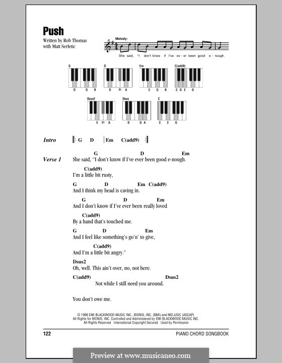 Push (Matchbox Twenty): letras e acordes para piano by Matt Serletic, Rob Thomas