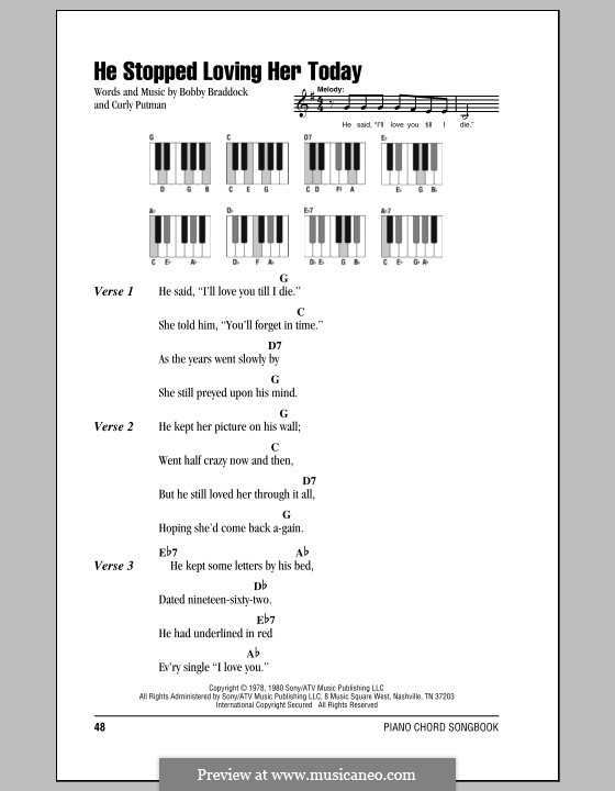 He Stopped Loving Her Today (George Jones): letras e acordes para piano by Bobby Braddock, Curly Putman