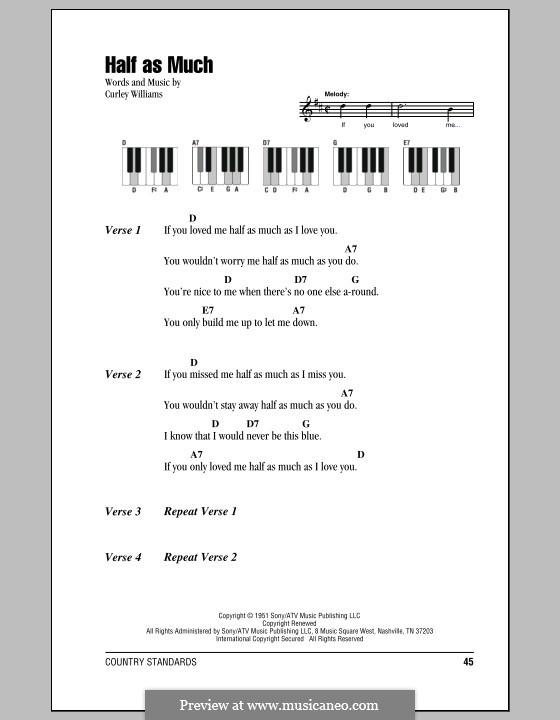 Half as Much (Patsy Cline): letras e acordes para piano by Curley Williams