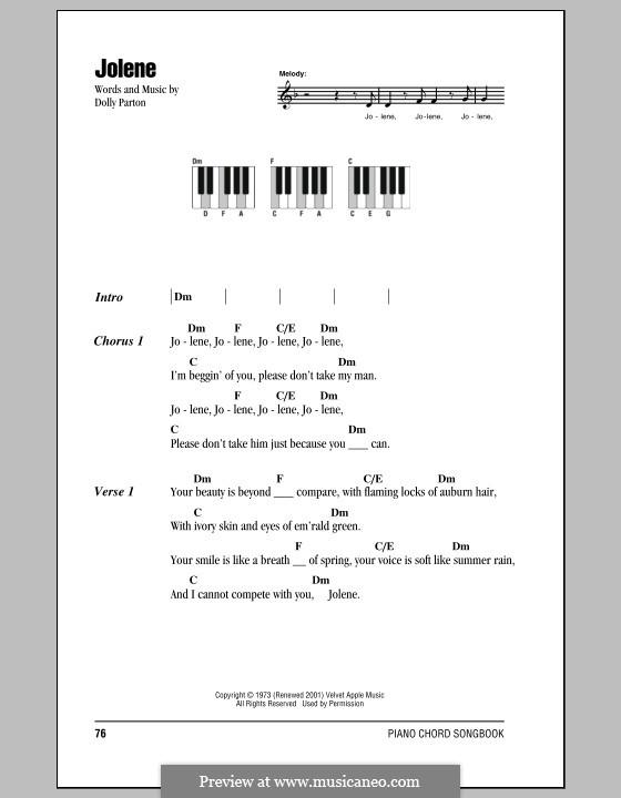 Jolene: letras e acordes para piano by Dolly Parton