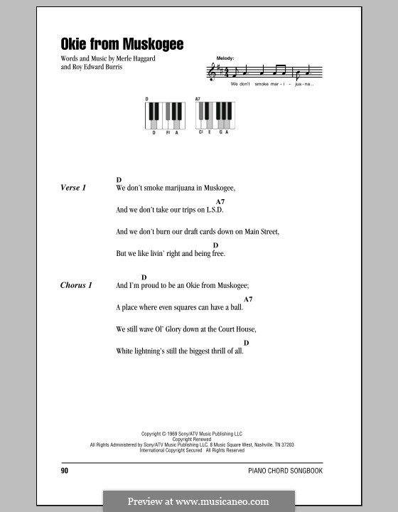 Okie from Muskogee: letras e acordes para piano by Roy Edward Burris