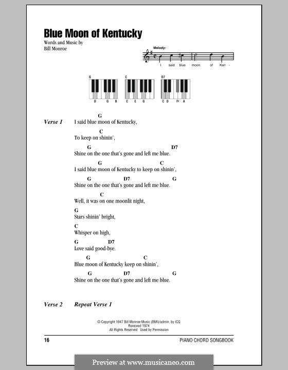 Blue Moon of Kentucky: letras e acordes para piano by Bill Monroe