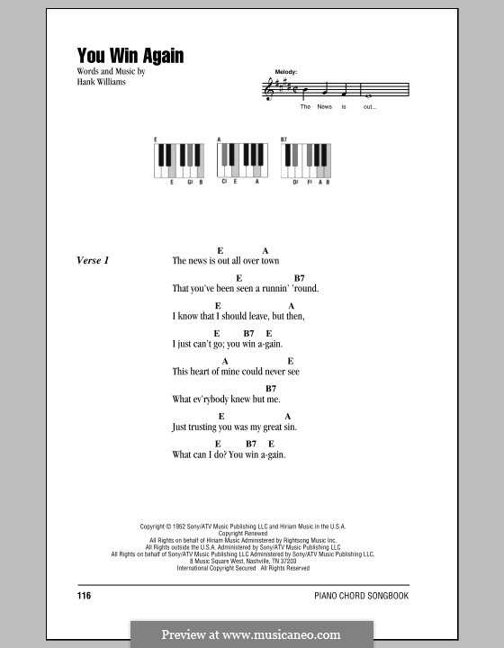 You Win Again: letras e acordes para piano by Hank Williams