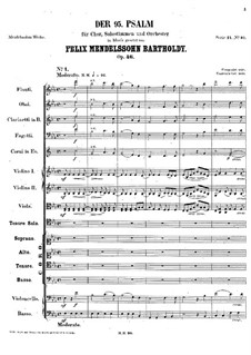 Psalm No.95 'Kommt, lasset uns anbeten' (Come, Let Us Sing), Op.46: Psalm No.95 'Kommt, lasset uns anbeten' (Come, Let Us Sing) by Felix Mendelssohn-Bartholdy
