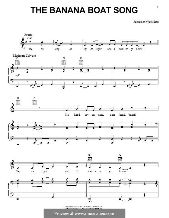 The Banana Boat Song (Day-O): Para vocais e piano (ou Guitarra) by folklore