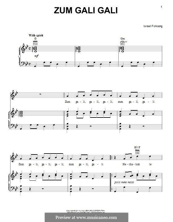 Zum Gali Gali: Para vocais e piano (ou Guitarra) by folklore