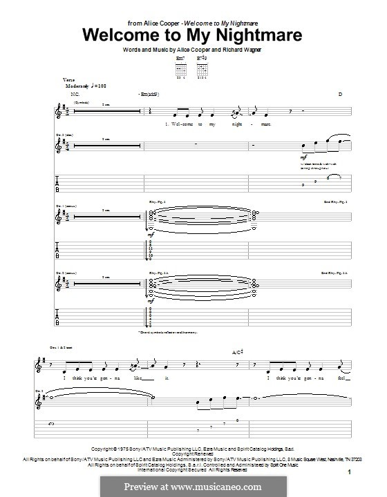 Welcome to My Nightmare: Para guitarra com guia by Richard Wagner