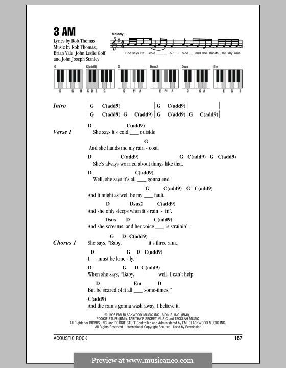 3 AM (Matchbox Twenty): letras e acordes para piano by Brian Yale, Jay Stanley, John Goff, Rob Thomas
