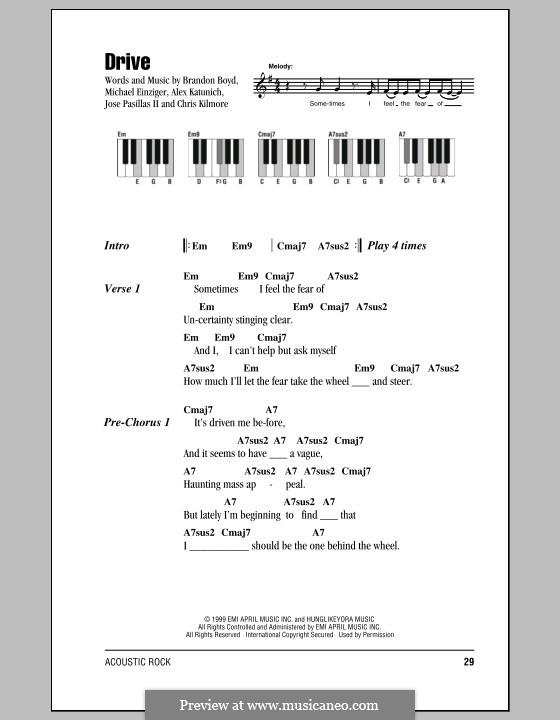Drive (Incubus): letras e acordes para piano by Alex Katunich, Brandon Boyd, Chris Kilmore, Jose Pasillas II, Michael Einziger