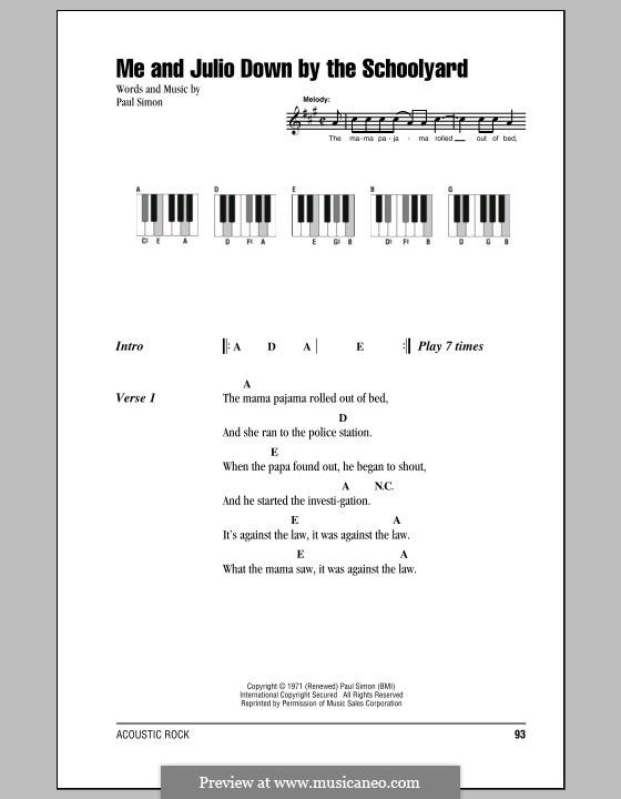 Me and Julio Down By the Schoolyard (Simon & Garfunkel): letras e acordes para piano by Paul Simon