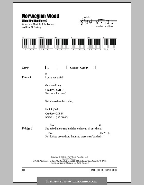 Norwegian Wood (This Bird Has Flown): letras e acordes para piano by John Lennon, Paul McCartney