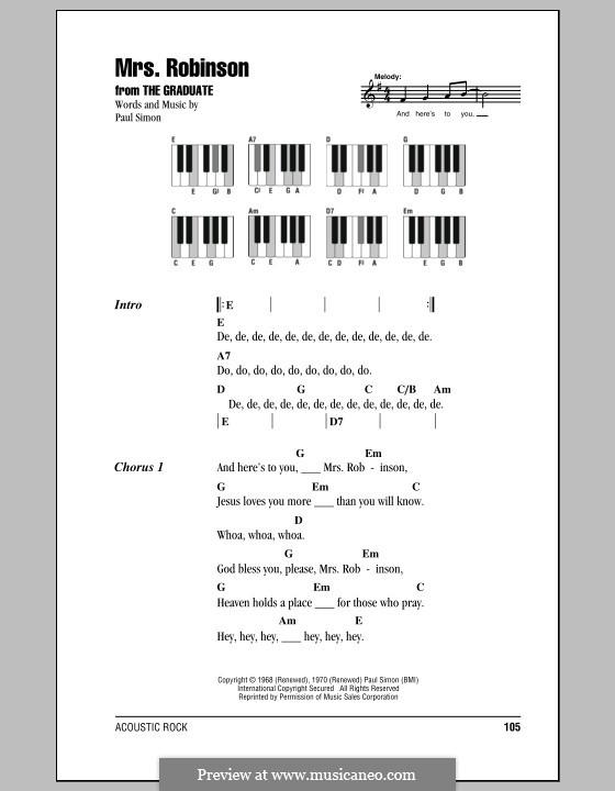 Mrs. Robinson (Simon & Garfunkel): letras e acordes para piano by Paul Simon