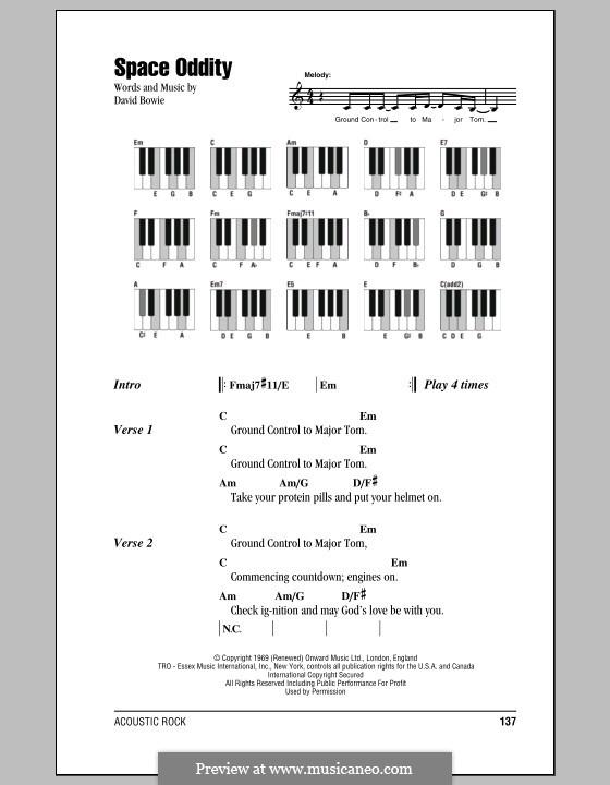 Space Oddity: letras e acordes para piano by David Bowie