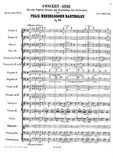 Concert Aria, Op.94: For soprano and Orchestra by Felix Mendelssohn-Bartholdy