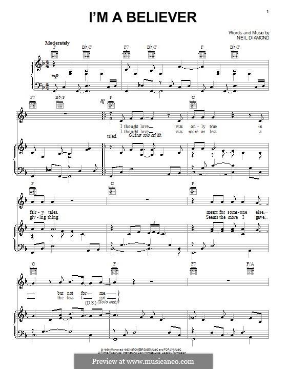 I'm a Believer: para voz, piano e guitarra (F Major) by Neil Diamond