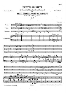 Piano Quartet No.2 in F Minor, Op.2: Partitura completa by Felix Mendelssohn-Bartholdy