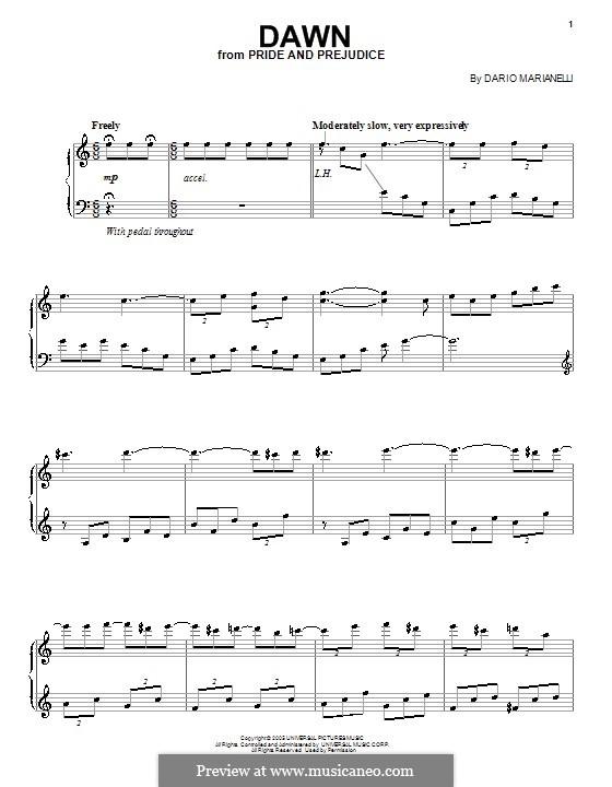 Dawn: Para vocais e piano (ou Guitarra) by Dario Marianelli