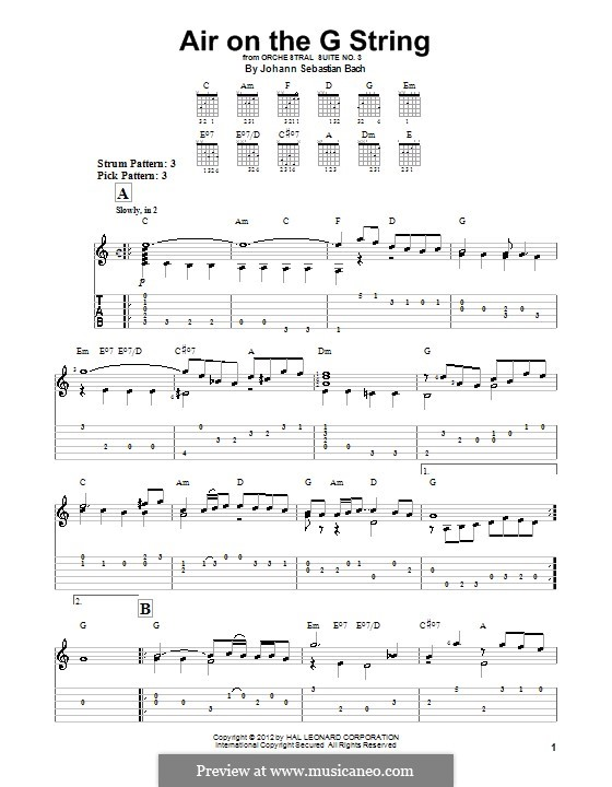 Aria (Printable Scores): Version for guitar (with tab) by Johann Sebastian Bach