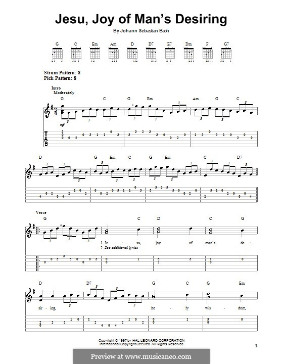 Jesu, Joy of Man's Desiring (Printable Scores): Para Guitarra by Johann Sebastian Bach
