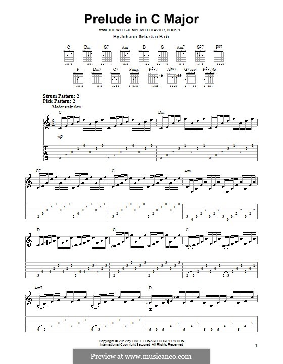 Prelude and Fugue No.1 in C Major, BWV 846: Prelude, for guitar by Johann Sebastian Bach