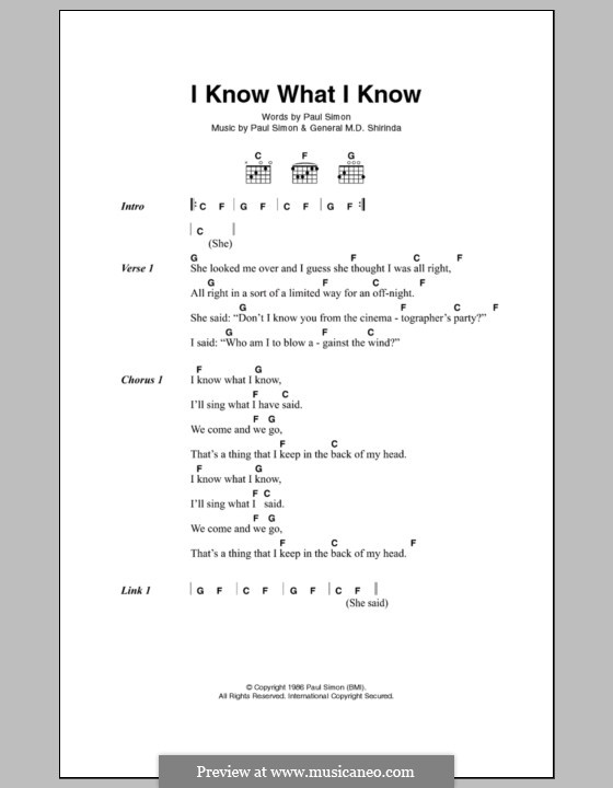 I Know What I Know: Letras e Acordes by General M.D. Shirinda, Paul Simon