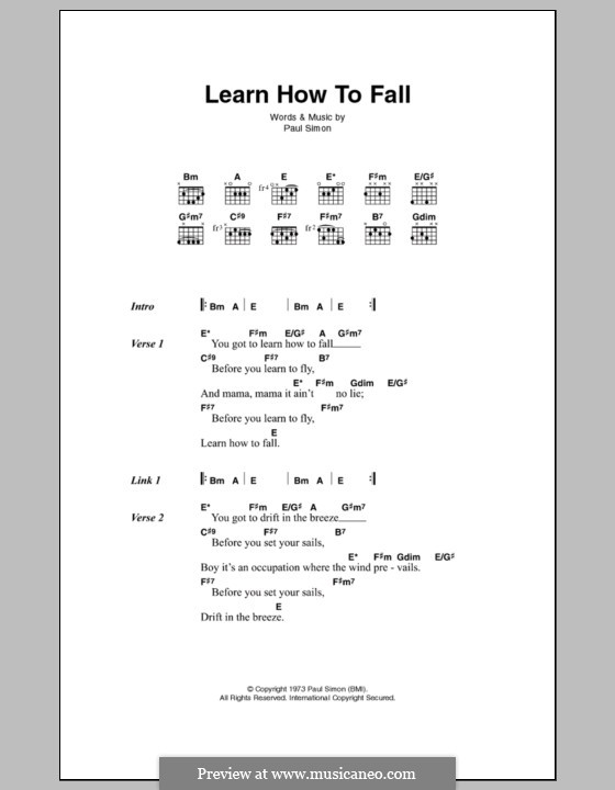 Learn How to Fall: Letras e Acordes by Paul Simon